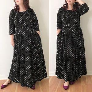 Eshakti Polka Dot 3/4 Sleeve Maxi Dress 1X W972